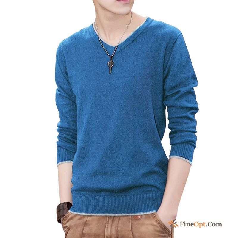 Pure Men's Europe Spring Autumn Skinny Sweater Coffee