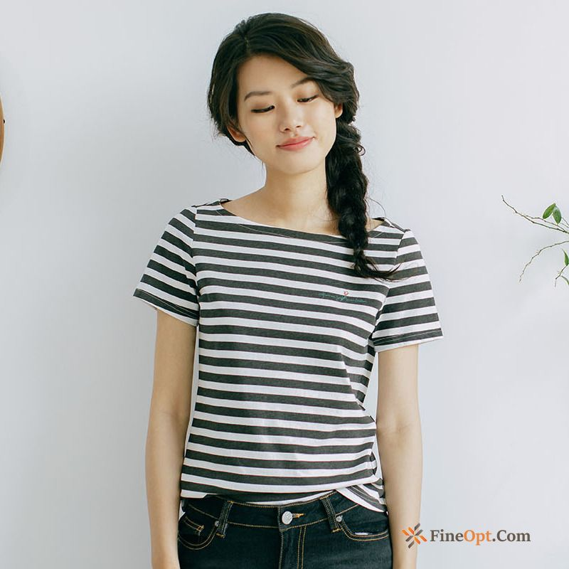 Pure Sleeve Summer T-shirt Stripes Cotton Literature Art T-shirts For Sale