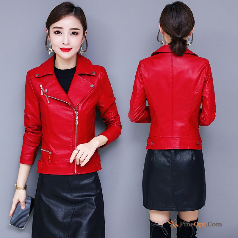Red Slim Autumn Leather Coat Big Long Sleeves Leather Jacket Online