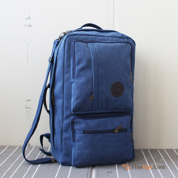 Retro School Bag Canvas Men's Personality Multifunction Travel Pitch-dark Travel Bag