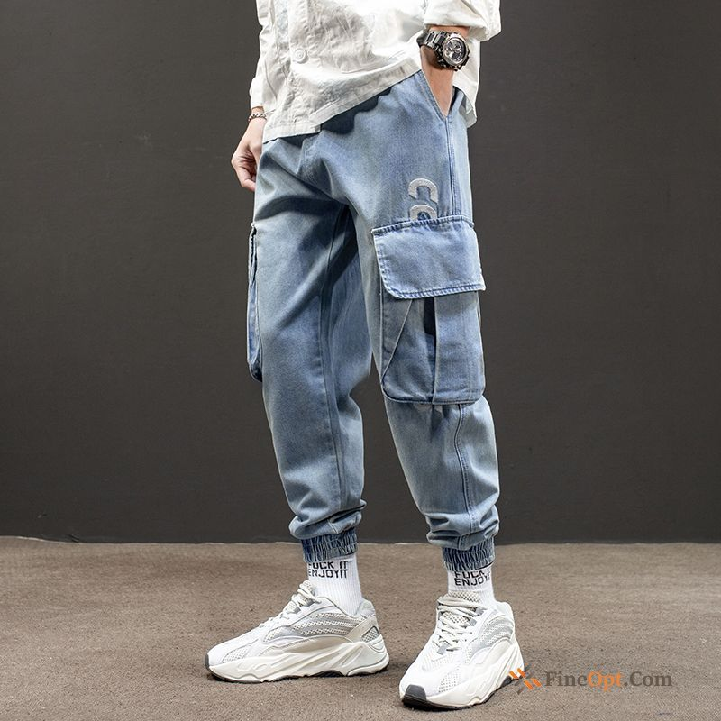 Retro Spring Ninth Pants Men's Jeans Harlan Trend Brand Turquoise Cargo Pants Discount