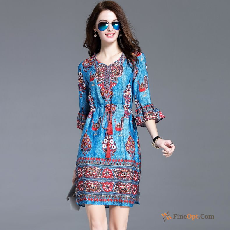 Retro Trend New Temperament Autumn Printing National Style Rubine Dress For Sale