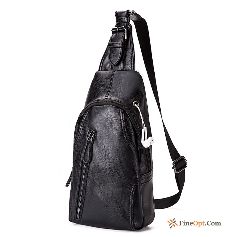 Riding Fashion Small All-match Men's Shoulder Bags Black