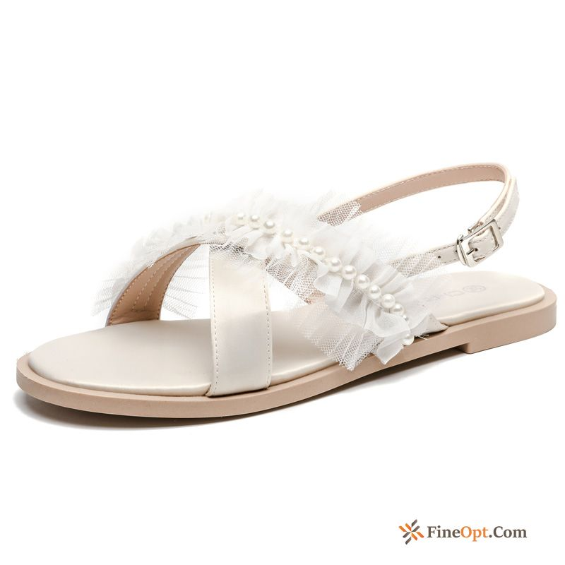 Rome Sandals New All-match Open Toe White Pearl Sandals