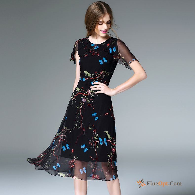 Round Neck Flower Black Printing Fashion Summer New Violet Dress Sale