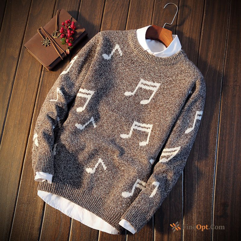 Round Neck Knitwear Sweater Men's Teens Autumn Europe Coat Sweater Discount