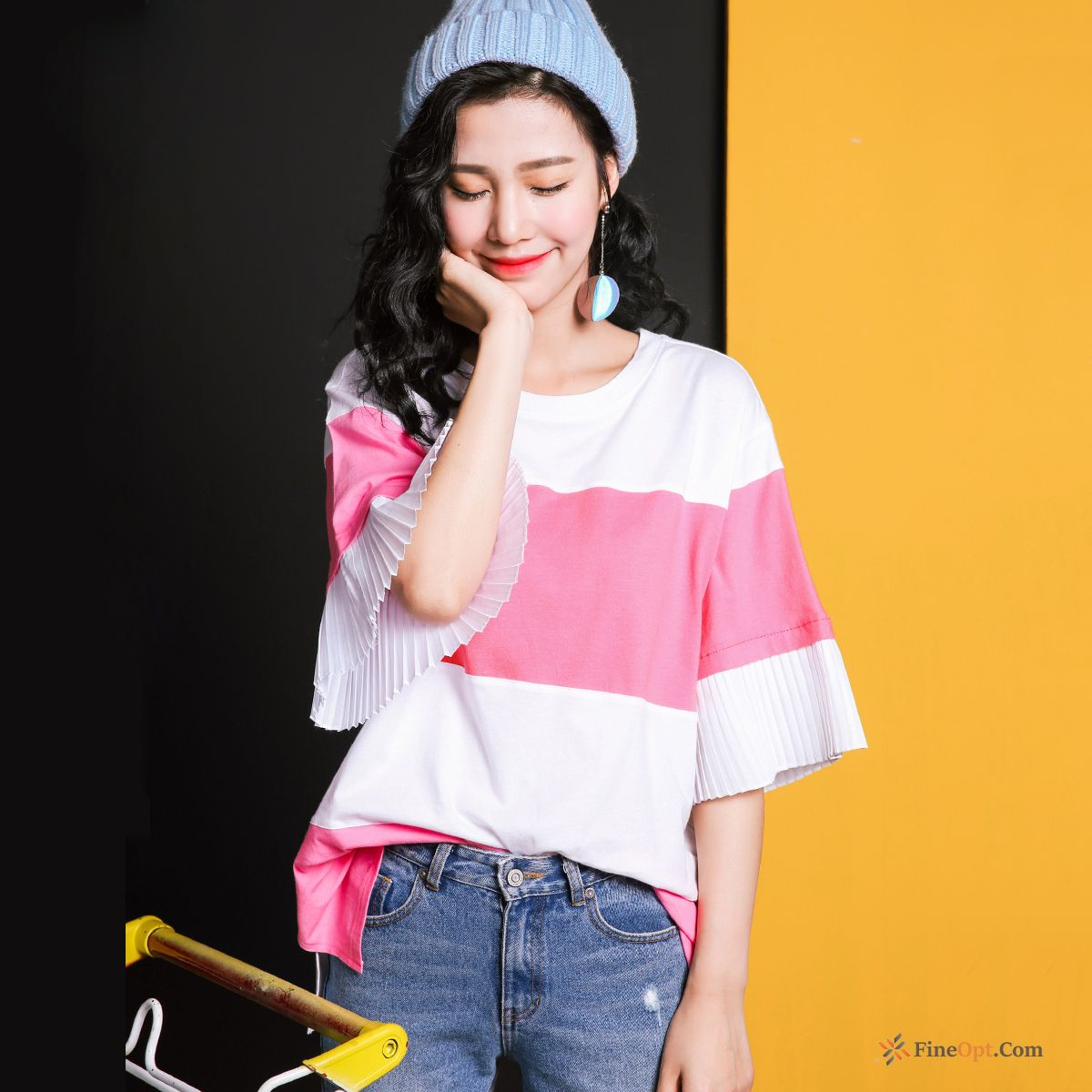 Round Neck New Sleeve Fashion Splicing Loose Spring T-shirts Discount