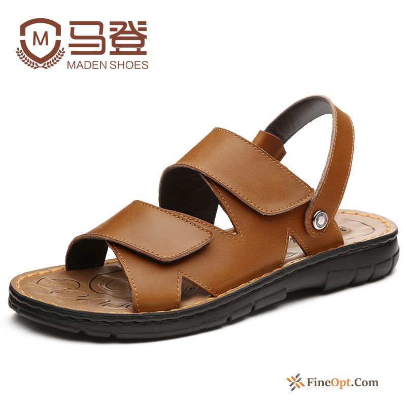 Sandals Genuine Leather Beach Summer New Men's Causal Shoes Coffee Sandals Discount