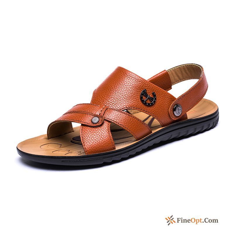 Sandals Genuine Red Men's Open Toe Genuine Leather Anti-skid Sandals Discount