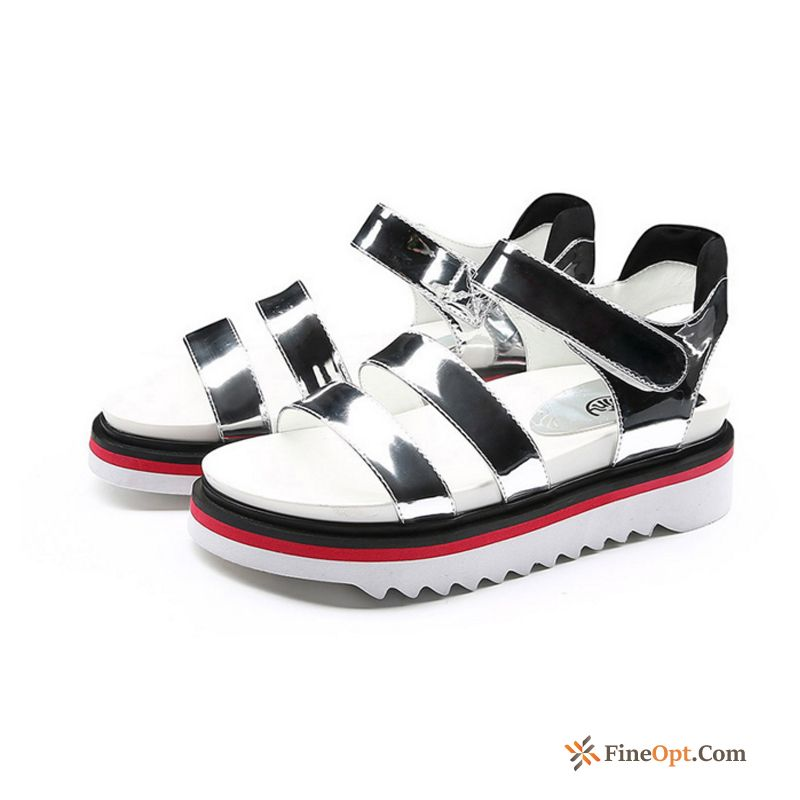 Sandals Mixed Colors Summer Flat Velcro High Heels New Raw White Sandals Discount