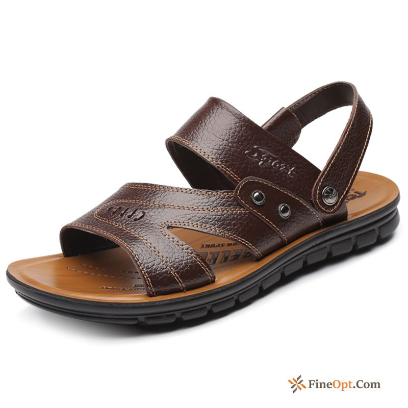 Sandals Summer Genuine Leather Men's Slippers Anti-skid Big Size Plum Sandals