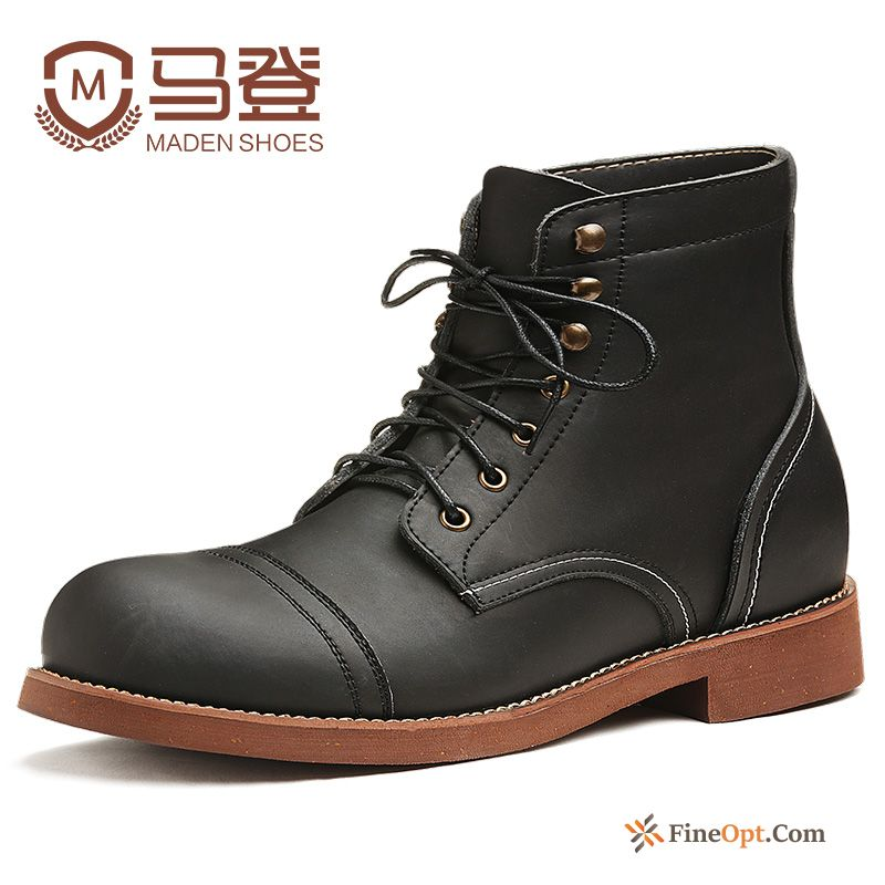 Short Boots Genuine Leather Boots Autumn New Men's High Top Discount