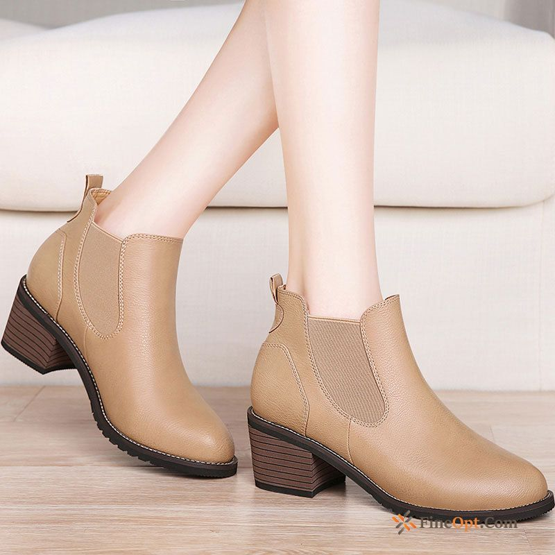 Short Boots Thick Martin Boots Trend British Round Toe Boots