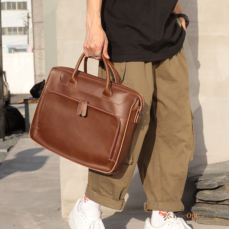 Shoulder Bags Travel Fashion Pu Leather Retro Briefcase Men Handbag