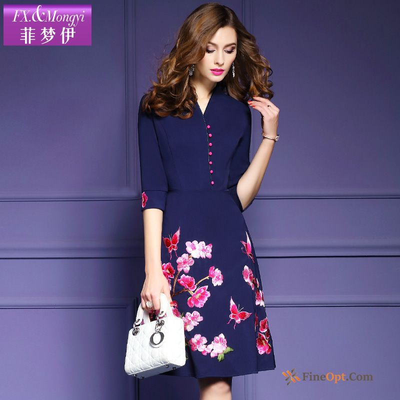 Sleeve New A Letter Spring Embroidery V-neck Retro Dress Discount