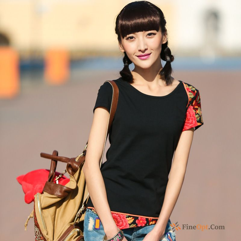 Sleeve Summer T-shirt Flowers New Asymmetry Shorts T-shirts Discount