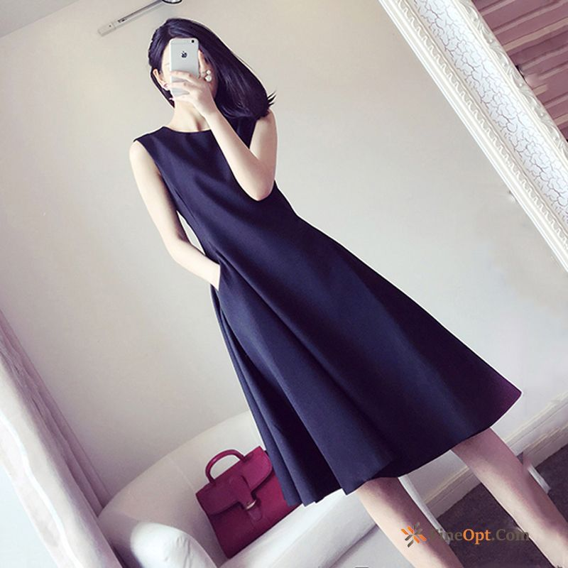 Sleeveless Dress Autumn Big Black Spring Thin Lemon