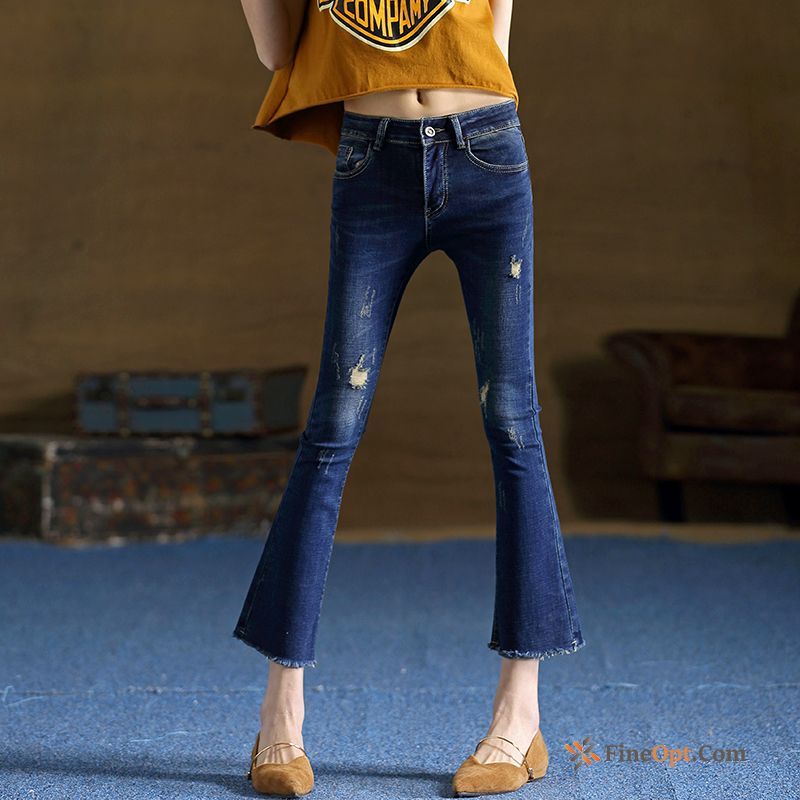 Slightly Thin Summer Bell-bottoms Spring Elasticity Leather Jeans Sale