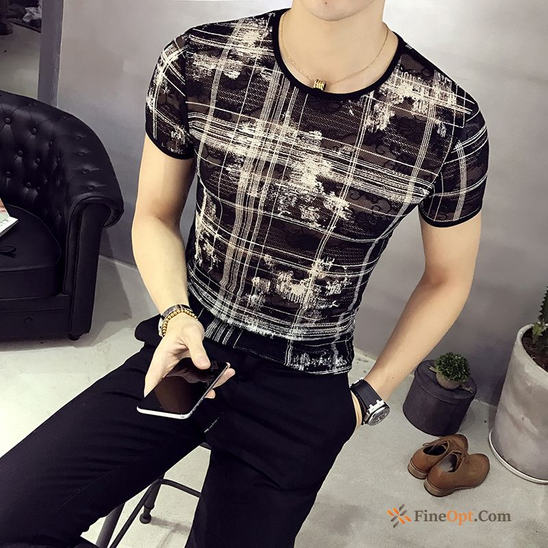 Slim Breathable Summer Shorts Skinny Hollow Silk T-shirts Sale