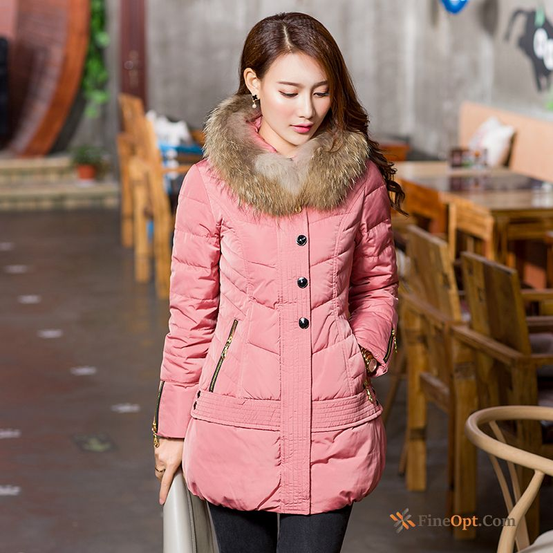 Slim Coat Big Fur Collar Down Jacket Hooded Trend Winter Clothes Sienna