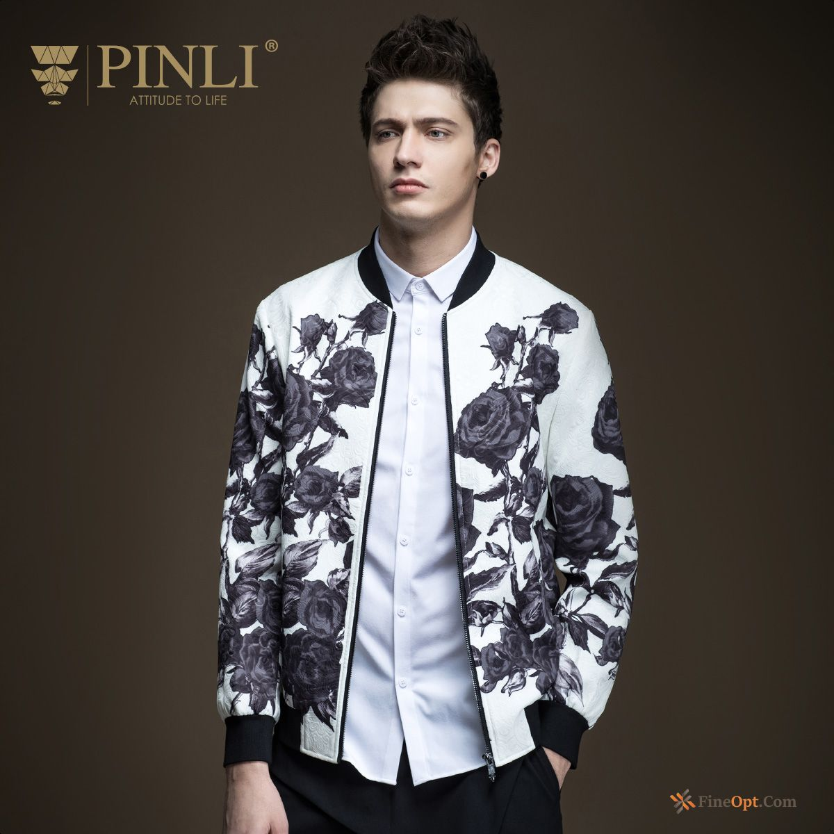 Slim Coat Men's Printing New Spring Flower Jacket Online