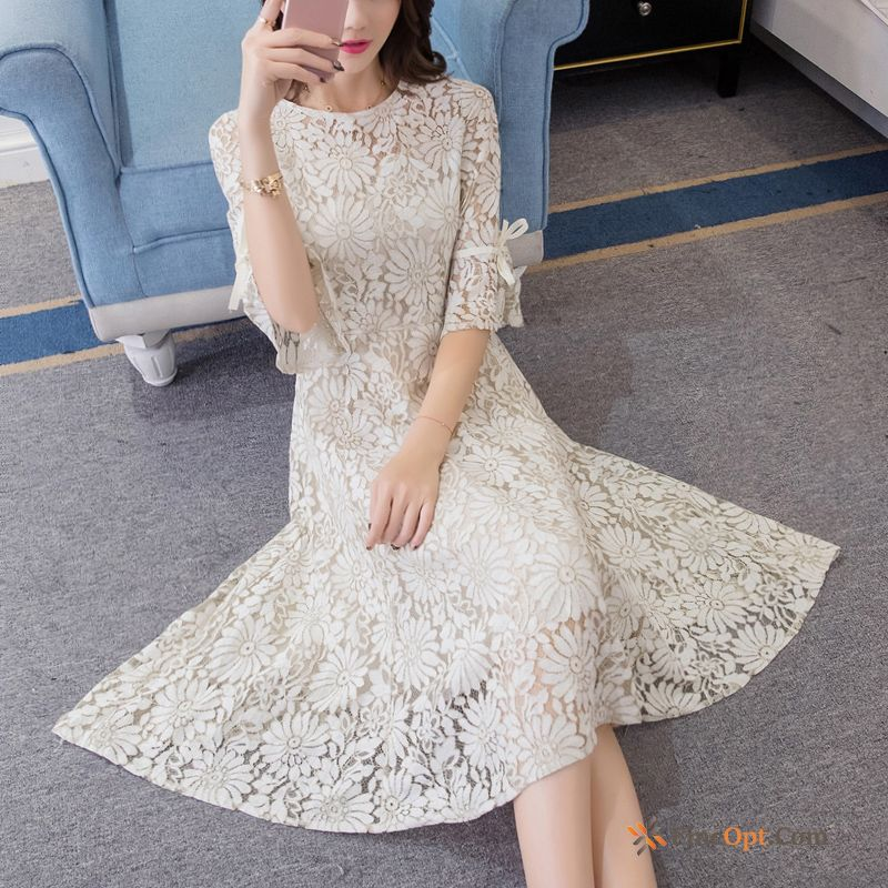 Slim Sleeve Ladies Europe Spring Thin Lace Dress For Sale