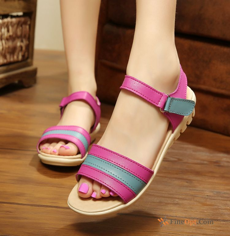 Soft Sole Driving Casual Red Sandals Open Toe Girl Purplish Red Sandals