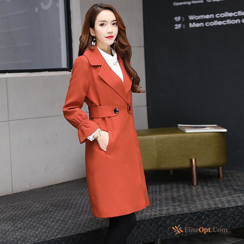 Spring Autumn New Coat Ladies Long Double Breasted Dull Black Coat