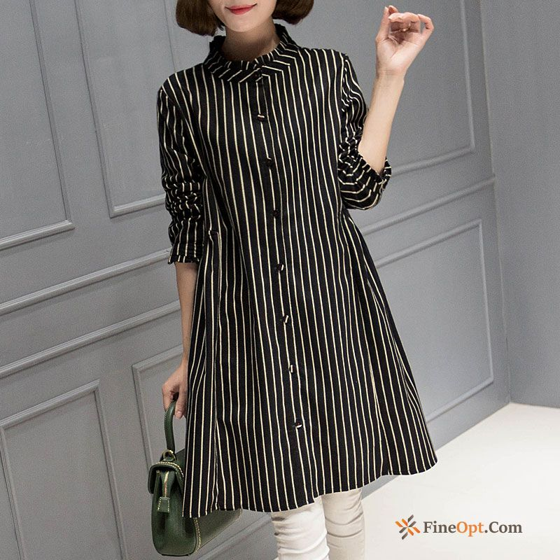 Spring Blouse Long New Bottoming Shirt All-match Stripes Blouse