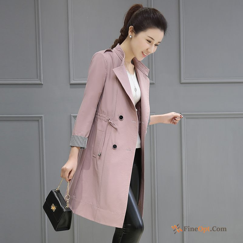 Spring British Temperament Double Breasted Autumn Coat Slim Coat