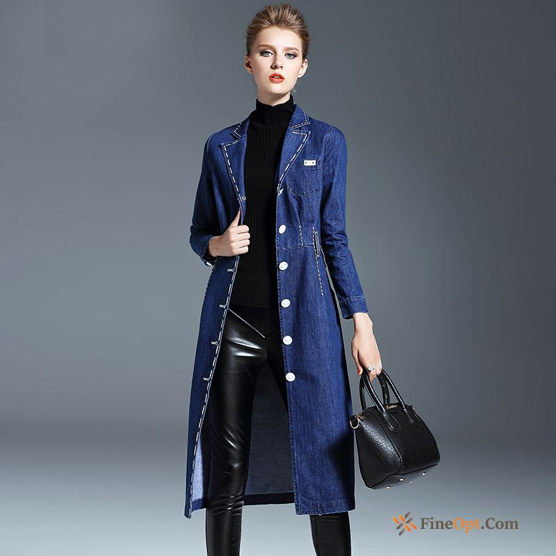 Spring Denim Single Row Button Loose Long Large Size Suit Gold Dress For Sale