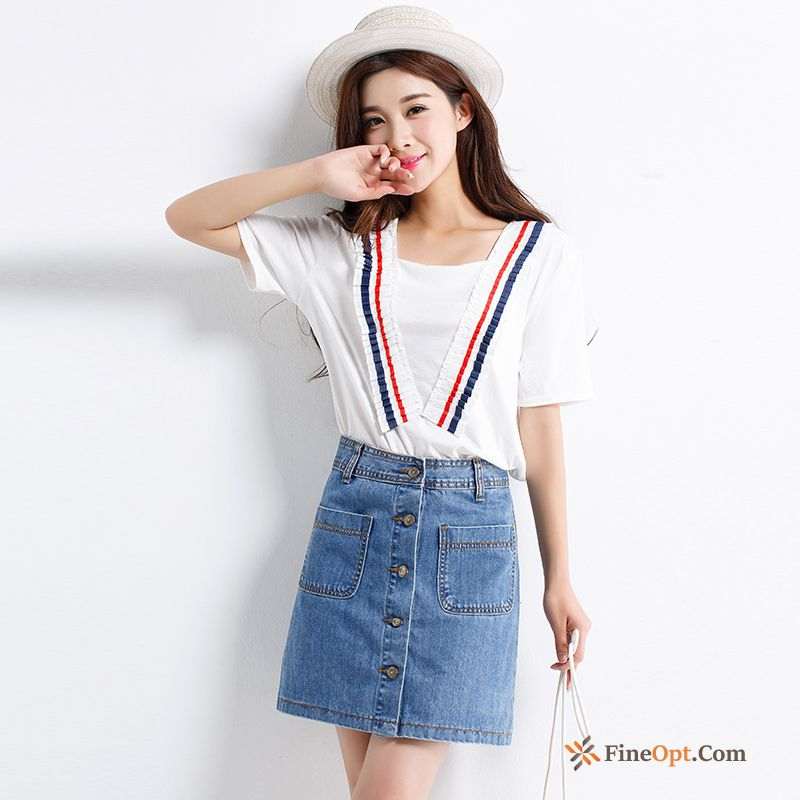 Spring Europe New Skirts Autumn Denim All-match Ivory Skirts
