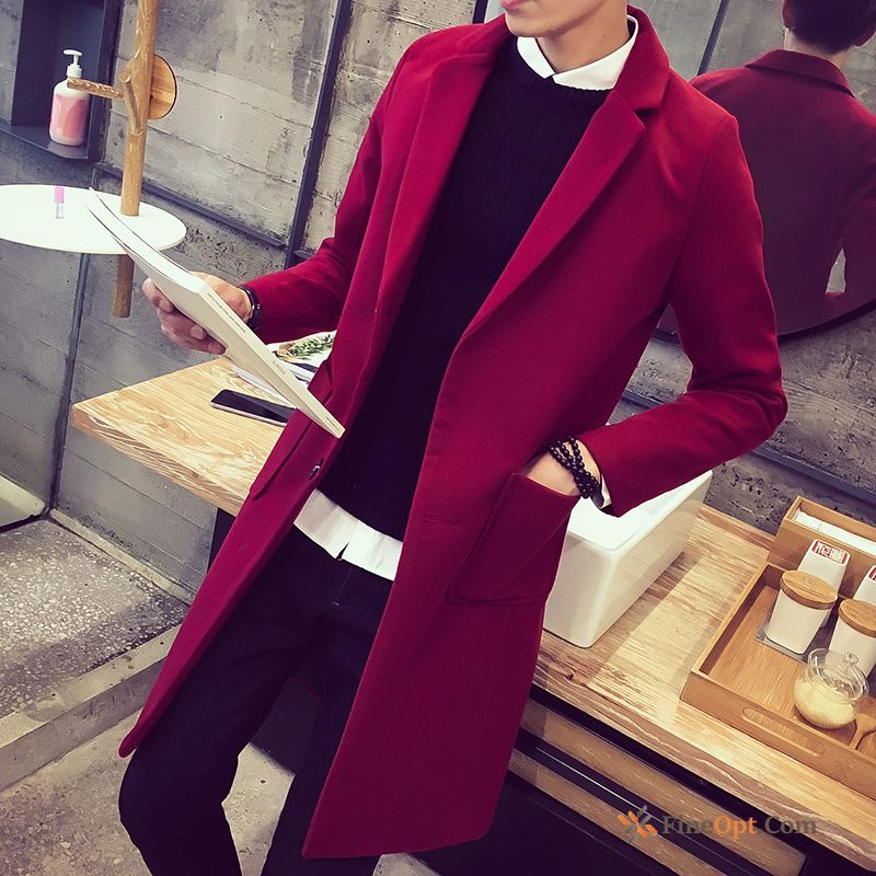 Spring Leisure Youth Large Size Trend Overcoat Wollen Fabric Gray Coat