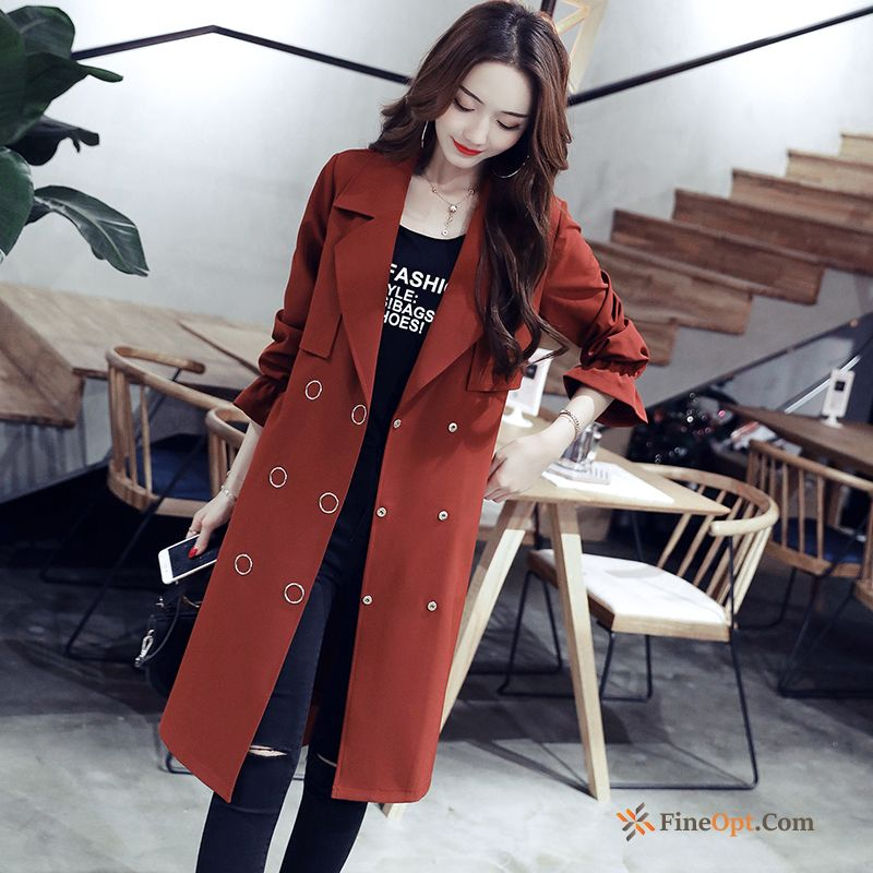 Spring Long Double Breasted Autumn Thin Europe Slim Coat Discount