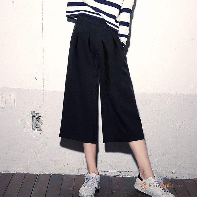 Spring Loose Straight Europe Pants New Cropped Trousers Sky Blue For Sale