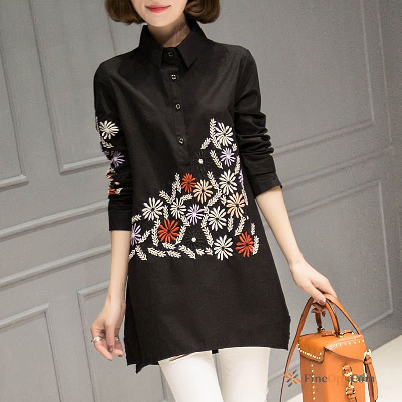 Spring New Embroidery Blouse Embroidered Long Sleeves Black Blouse