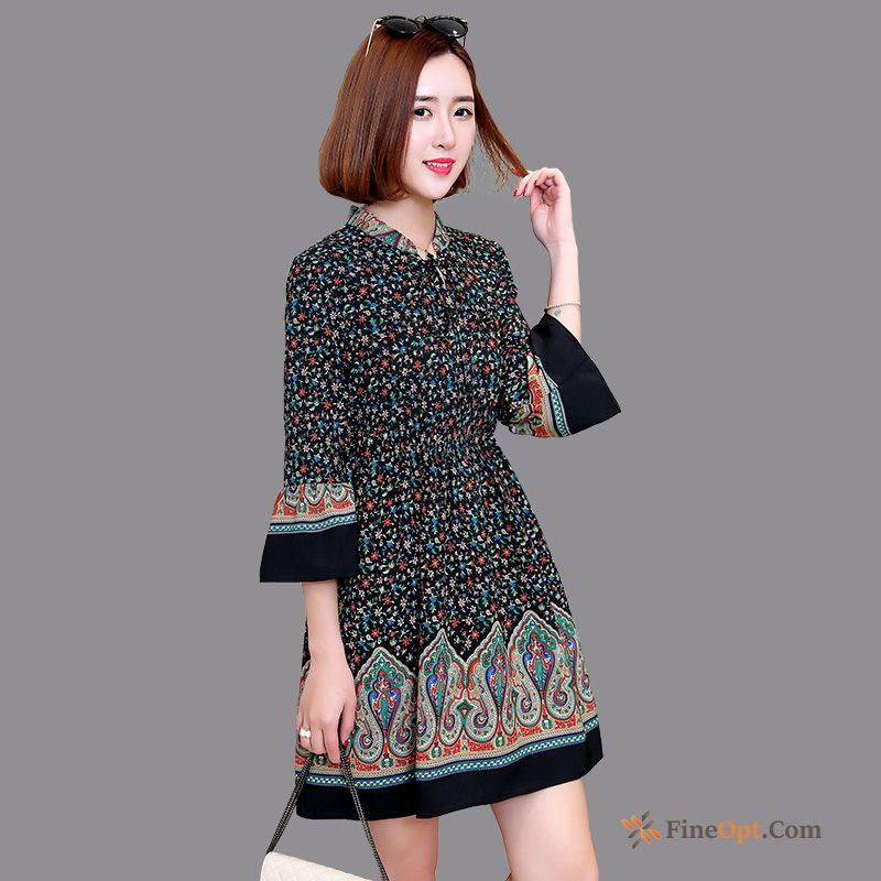 Spring New Horn Thin Floral Sleeve Fashion Dress