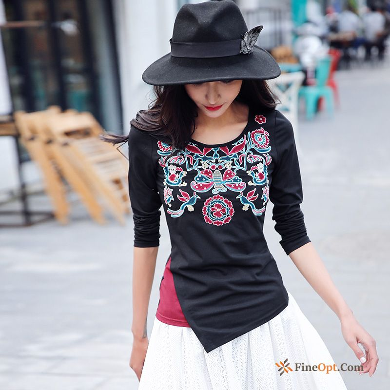 Spring New Knitting Contrast Color Splicing Round Neck Long Sleeves Cream T-shirts For Sale