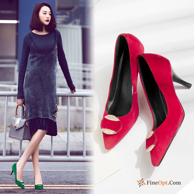 Spring Sexy High Heels Pointed Toe Party Genuine Leather Thin Heels Pumps Sale
