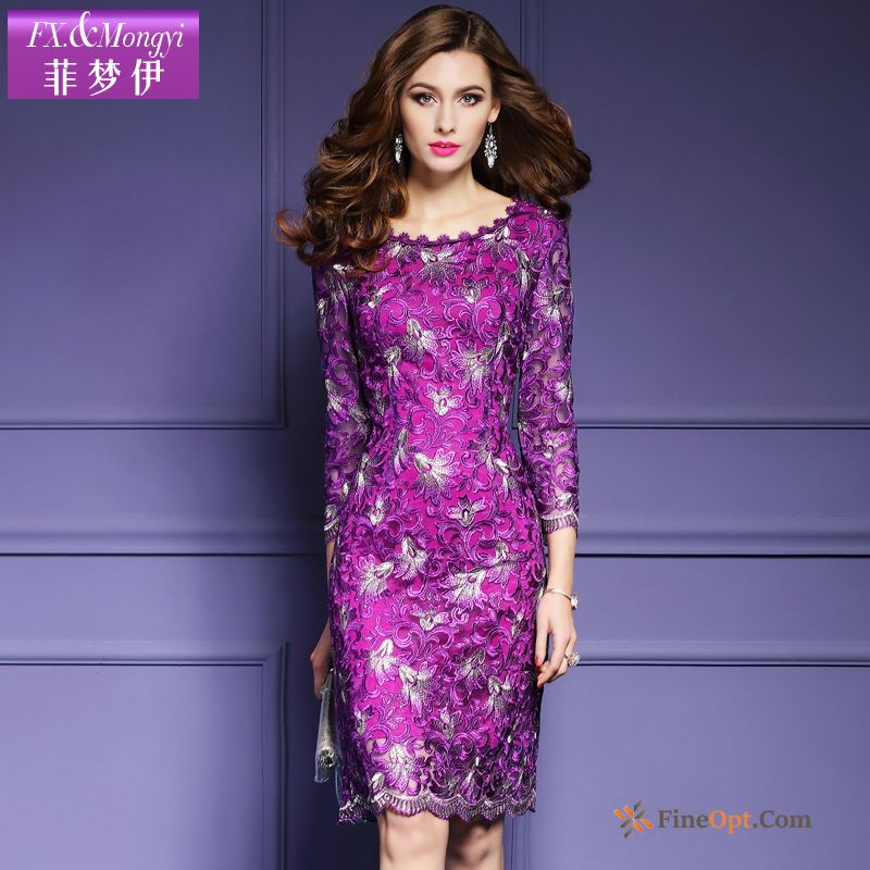 Spring Sleeve New Fashion High-end Net Yarn Embroidery Dress