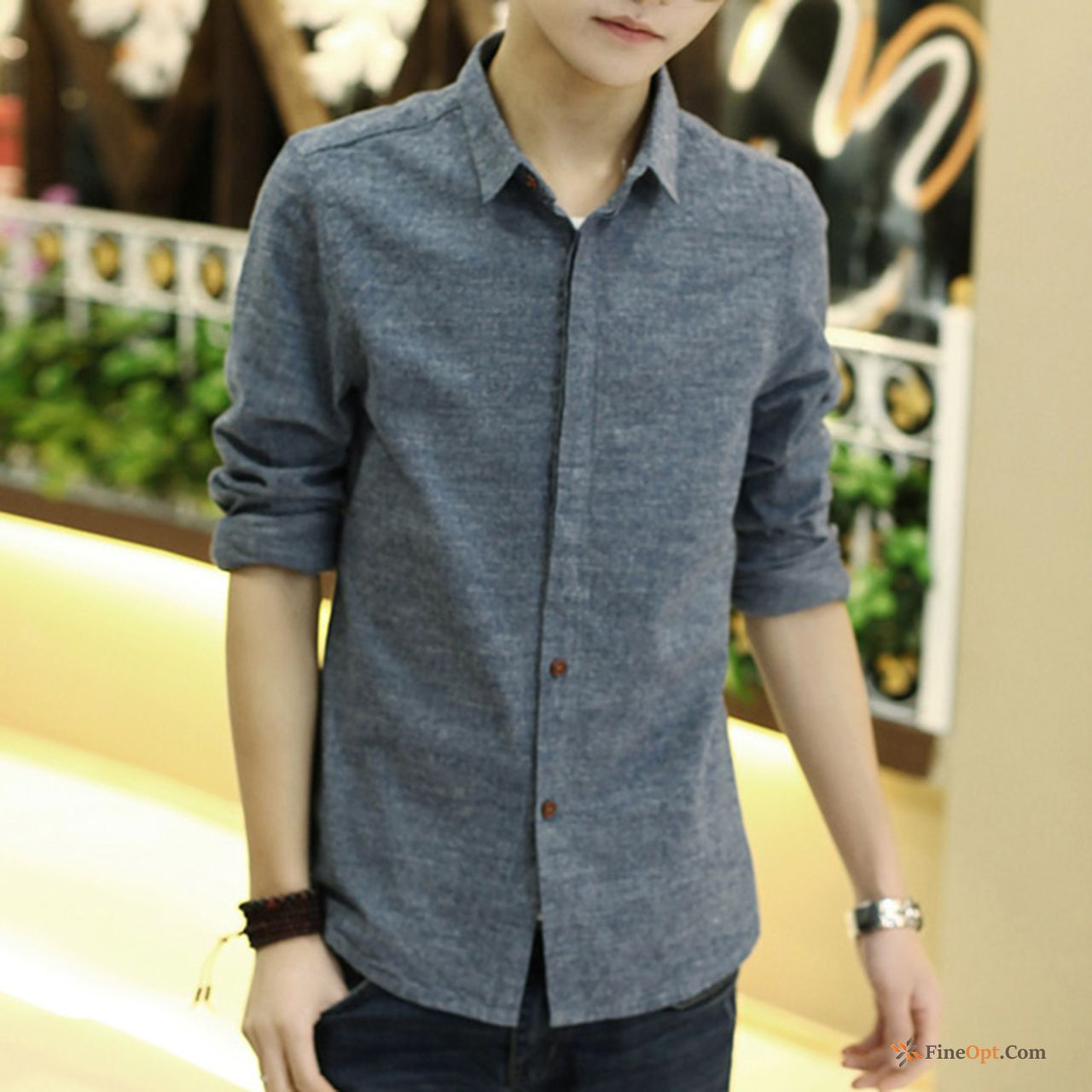 Spring Slim Student New Long Sleeves Men's Teens Beige Shirts For Sale