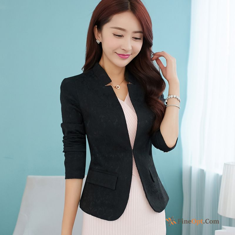 Spring Temperament Coat Slim Large Size Black Blazer Discount