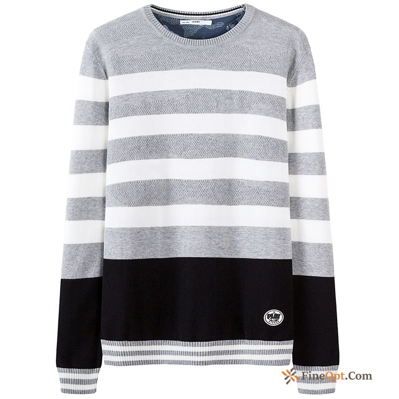 Spring Youth Knitwear Sweater Trend New Stripes Round Neck Sweater