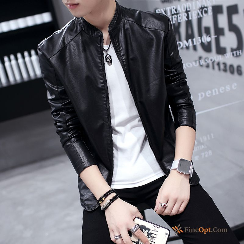 Stand Collar Europe Spring Student Leather Fashion Jacket Jacket