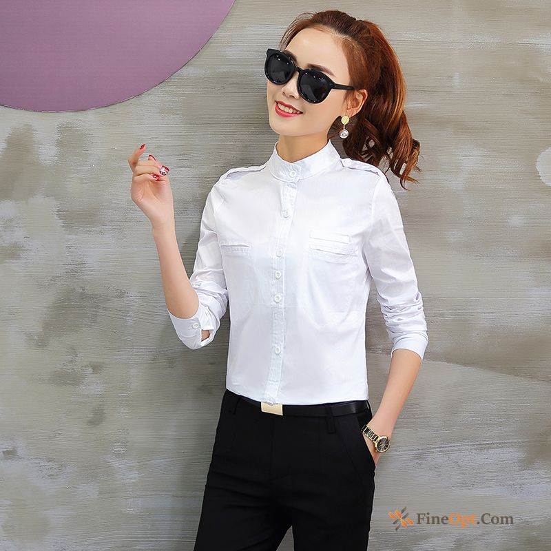 Stand Collar Slim New Bottoming Shirt Thin White Long Sleeves Blouse