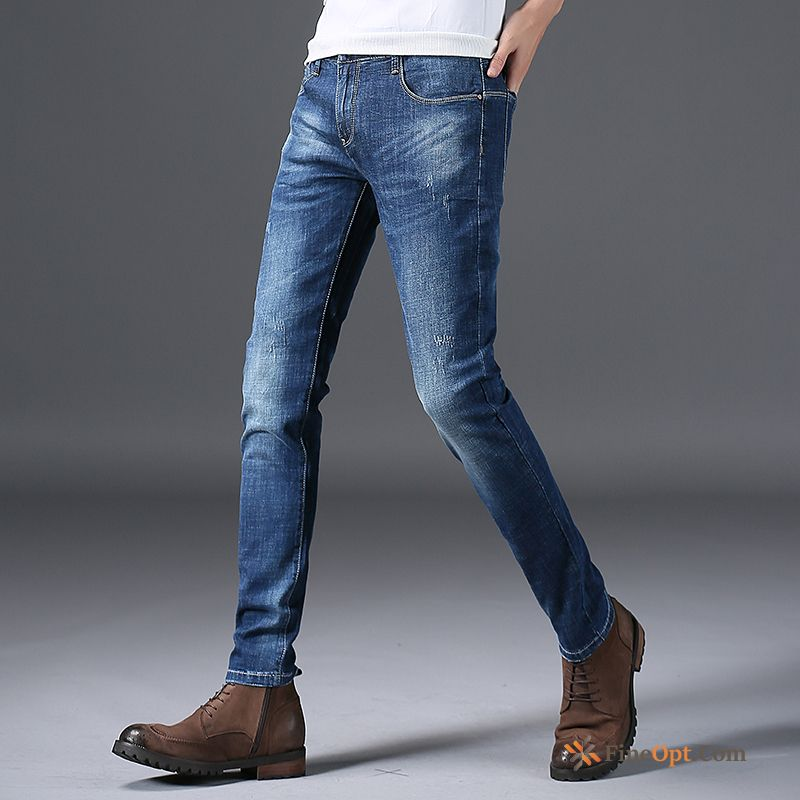 Straight Jeans Men's Trousers Leisure Skinny Light