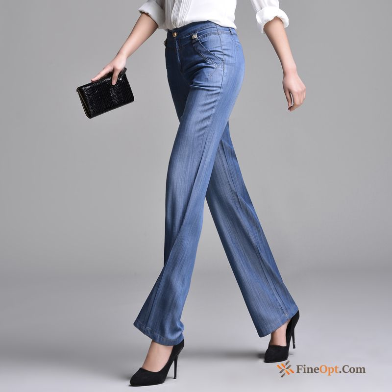 Straight Large Size New Trousers Jeans Silk High Waist Sale