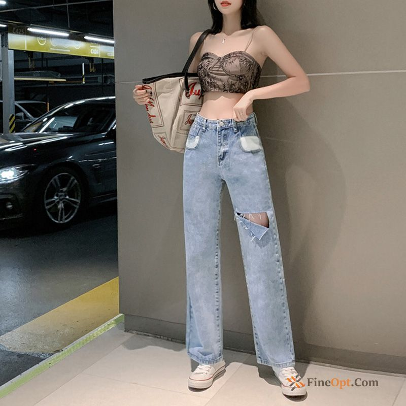 Straight Pants Summer Blue High Waist Loose Jeans