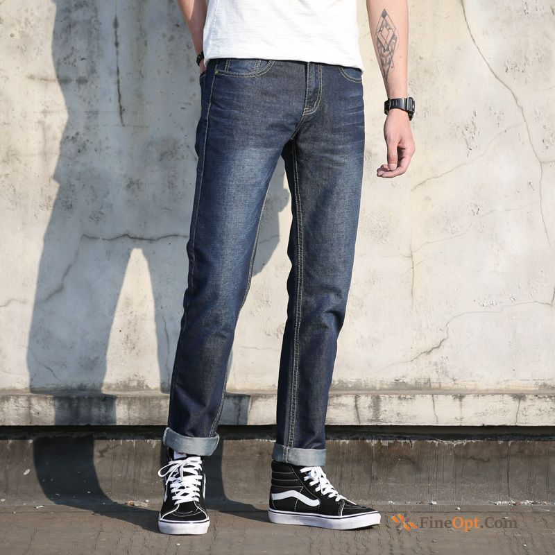 Straight Slim Spring Men's Middle Waisted New Leisure Jeans