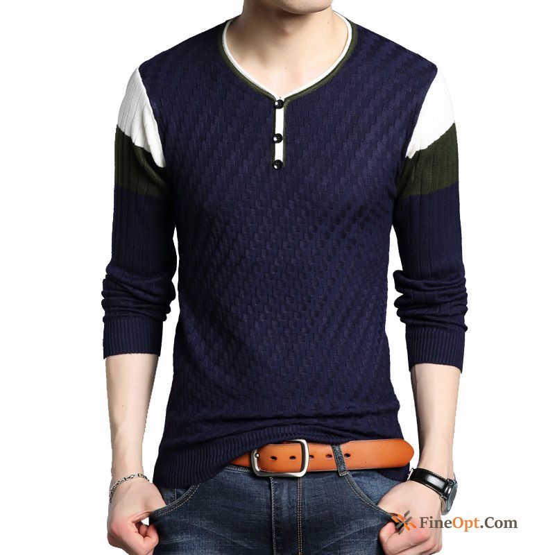 Stripes Trend Men's Europe Slim Knitwear Sweater V-neck Dark Green Sweater Discount